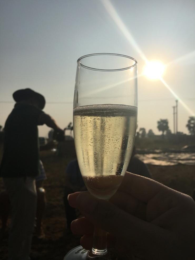 champagne hot air balloon